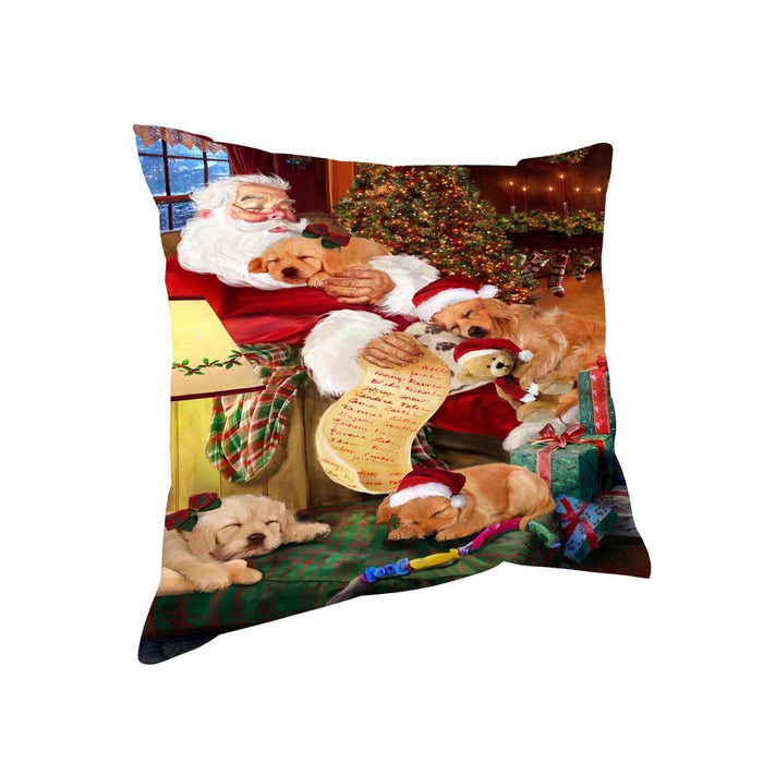 Golden Retriever Dog and Puppies Sleeping with Santa Throw Pillow