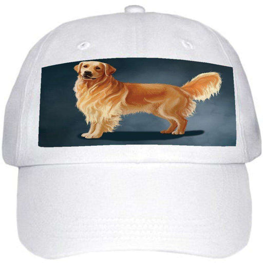 Golden Retriever Dog Ball Hat Cap Off White