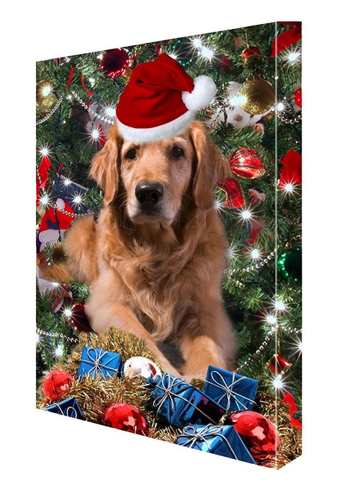 Golden Retriever Dog Christmas Canvas 18 x 24