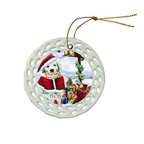 Golden Retriever Dog Christmas Doily Ceramic Ornament