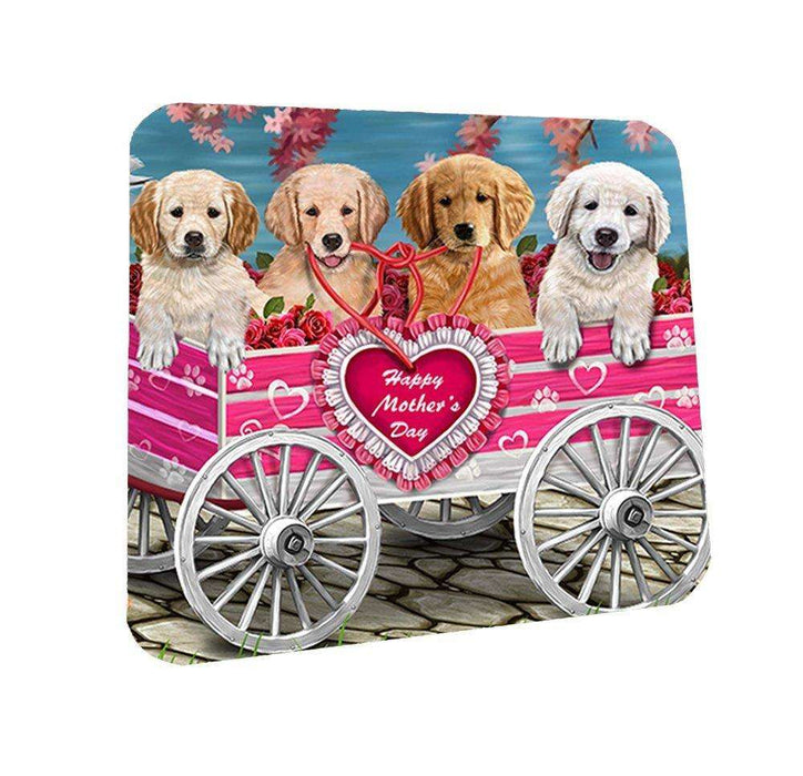 Golden Retriever w/ Puppies Mother's Day Dogs Coasters (Set of 4)