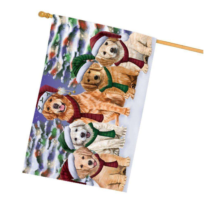 Golden Retrievers Dog Christmas Family Portrait in Holiday Scenic Background House Flag