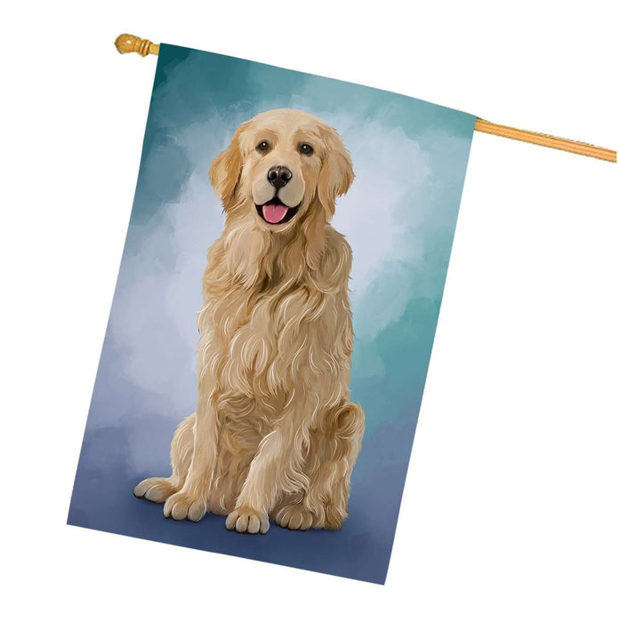 Golden Retrievers Dog House Flag