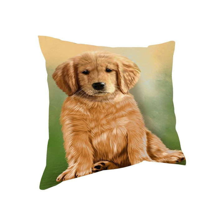 Golden Retrievers Puppy Dog Throw Pillow