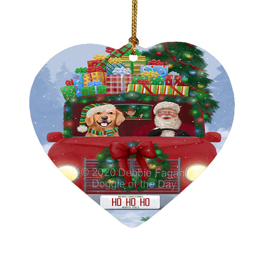 Christmas Honk Honk Red Truck Here Comes with Santa and Golden Retriever Dog Heart Christmas Ornament RFPOR58172