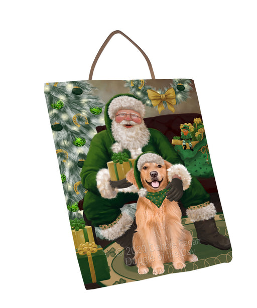 Christmas Irish Santa with Gift and Golden Retriever Dog Wall Décor Hanging Photo Slate SLTH58338