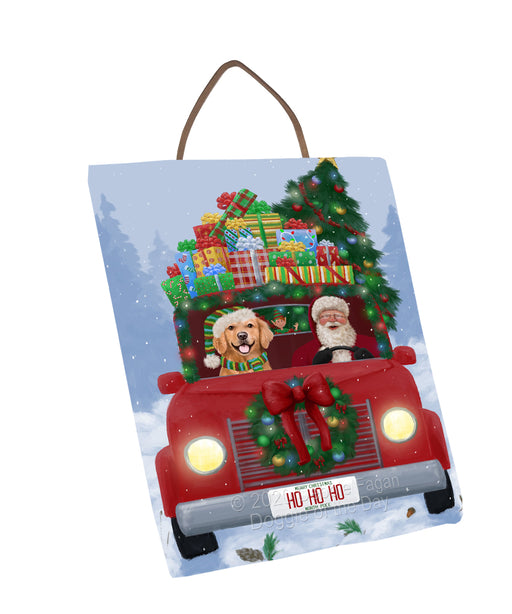 Christmas Honk Honk Red Truck Here Comes with Santa and Golden Retriever Dog Wall Décor Hanging Photo Slate SLTH58240