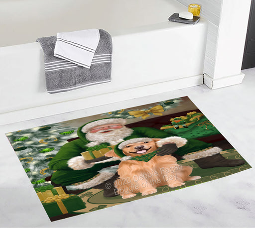 Christmas Irish Santa with Gift and Golden Retriever Dog Bath Mat BRUG54040