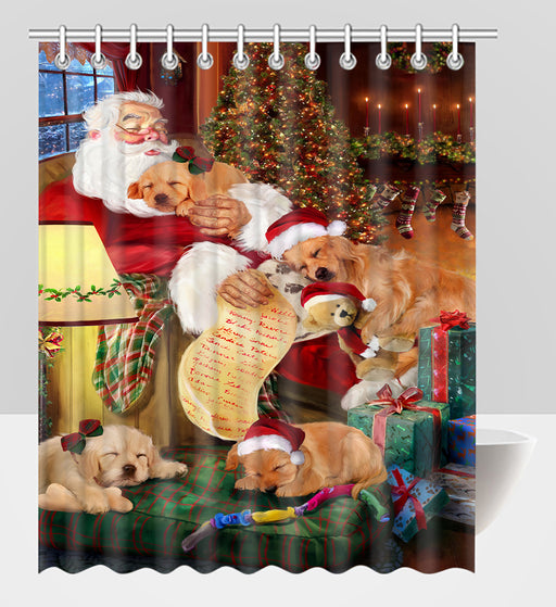 Santa Sleeping with Golden Retriever Dogs Shower Curtain