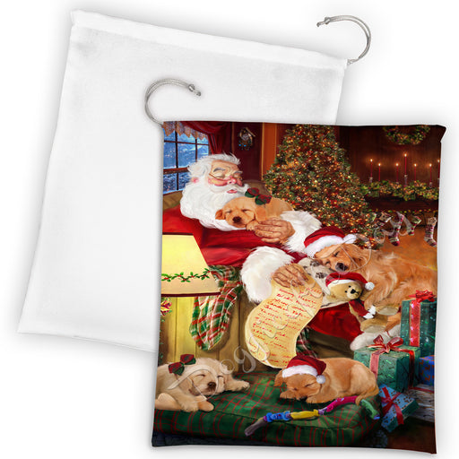 Santa Sleeping with Golden Retriever Dogs Drawstring Laundry or Gift Bag LGB48813