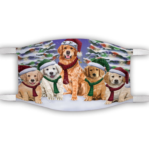 Golden Retriever Dogs Christmas Family Portrait in Holiday Scenic Background Face Mask FM48347