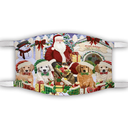 Happy Holidays Christmas Golden Retriever Dogs House Gathering Face Mask FM48250