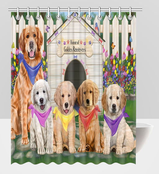 Spring Dog House Golden Retriever Dogs Shower Curtain