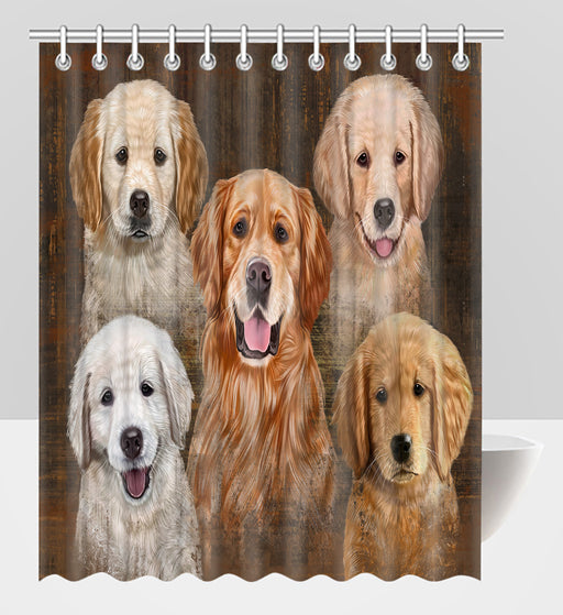 Rustic Golden Retriever Dogs Shower Curtain