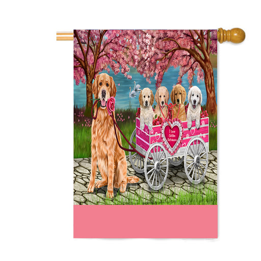 Personalized I Love Golden Retriever Dogs in a Cart Custom House Flag FLG-DOTD-A62210