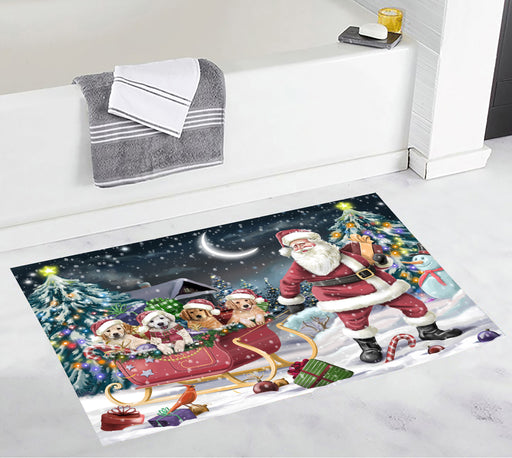 Santa Sled Dogs Christmas Happy Holidays Golden Retriever Dogs Bath Mat