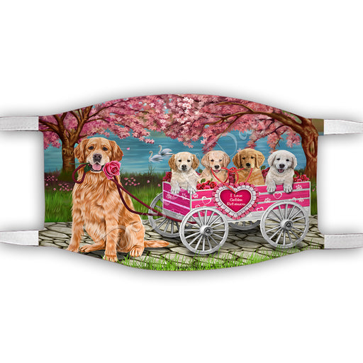 I Love Golden Retriever Dogs in a Cart Face Mask FM48148