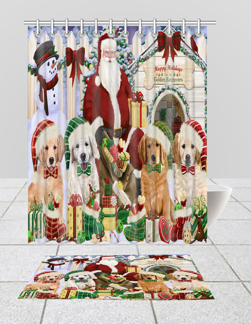 Happy Holidays Christmas Golden Retriever Dogs House Gathering Bath Mat and Shower Curtain Combo