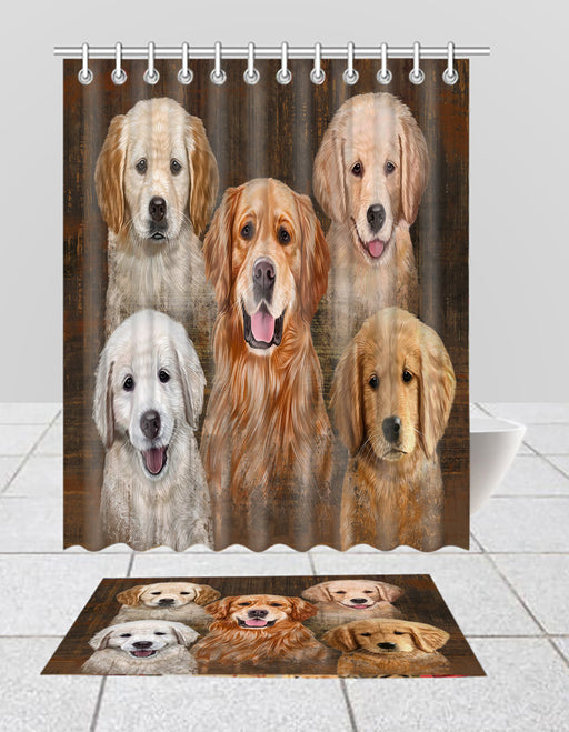 Rustic Golden Retriever Dogs  Bath Mat and Shower Curtain Combo