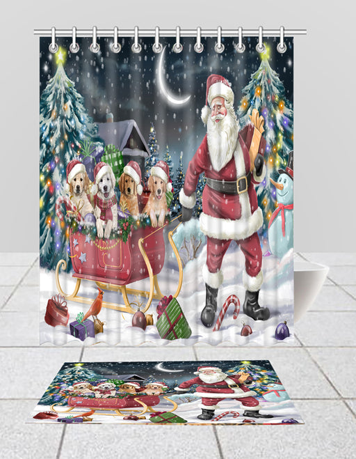Santa Sled Dogs Christmas Happy Holidays Golden Retriever Dogs Bath Mat and Shower Curtain Combo
