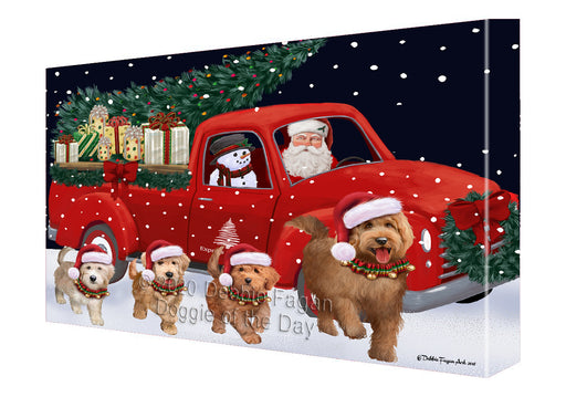 Christmas Express Delivery Red Truck Running Goldendoodle Dogs Canvas Print Wall Art Décor CVS146114
