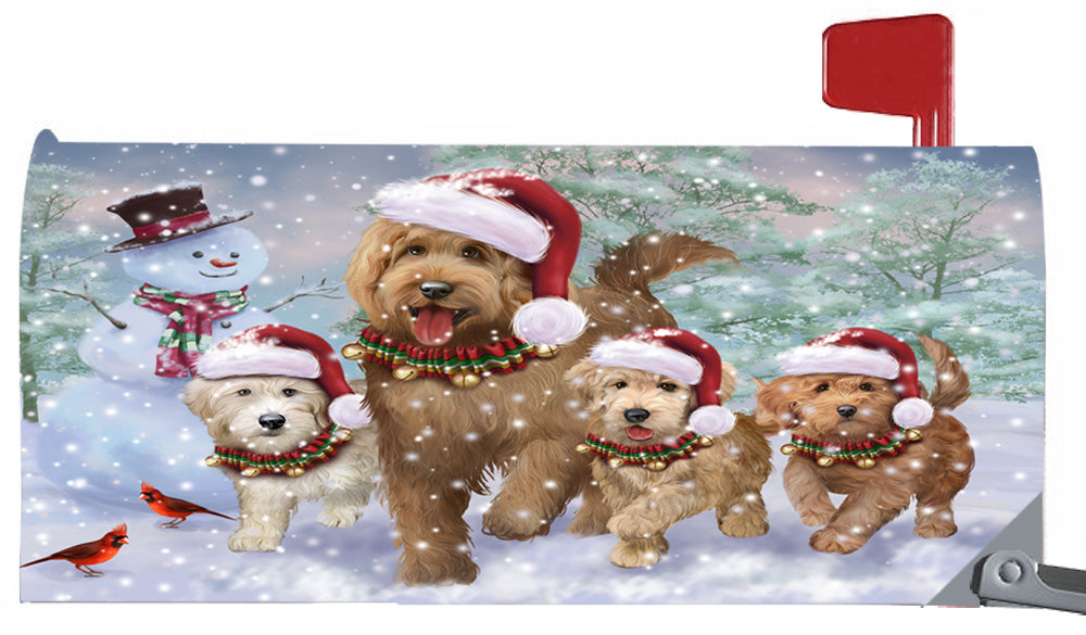 Magnetic Mailbox Cover Christmas Running Family Goldendoodles Dogs MBC48273