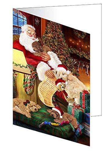 Goldendoodle Dog and Puppies Sleeping with Santa Greeting Card