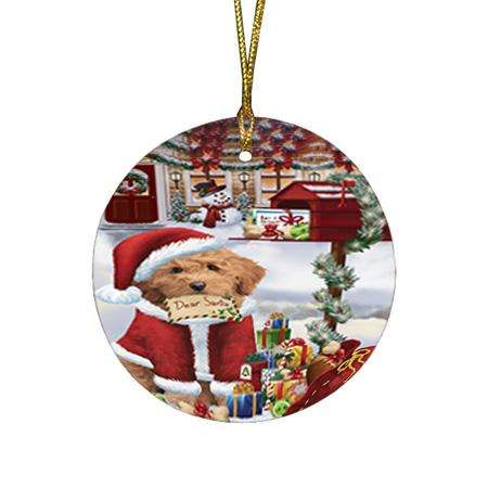 Goldendoodle Dog Dear Santa Letter Christmas Holiday Mailbox Round Flat Christmas Ornament RFPOR53529