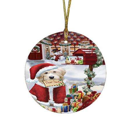 Goldendoodle Dog Dear Santa Letter Christmas Holiday Mailbox Round Flat Christmas Ornament RFPOR53530