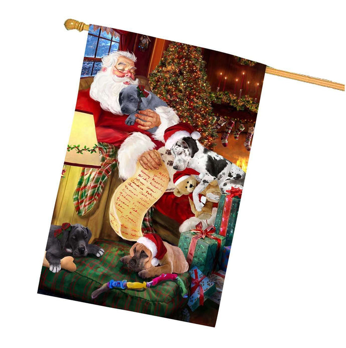 Great Dane Dog and Puppies Sleeping with Santa House Flag