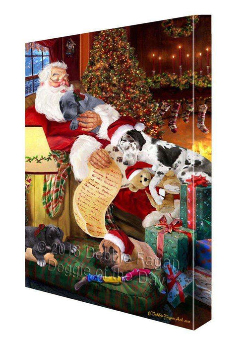 Great Dane Dog and Puppies Sleeping with Santa Painting Printed on Canvas Wall Art