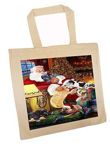 Great Dane Dog and Puppies Sleeping with Santa Tote