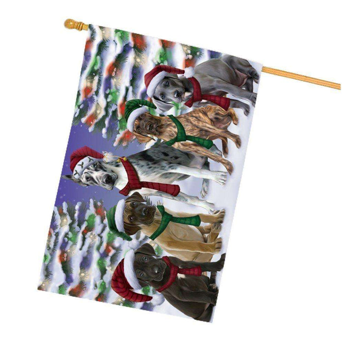 Great Dane Dog Christmas Family Portrait in Holiday Scenic Background House Flag