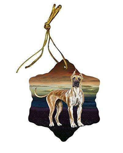 Great Dane Dog Christmas Snowflake Ceramic Ornament