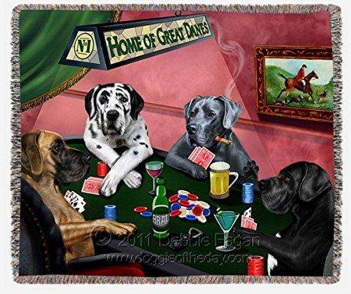 Great Dane Dogs Playing Poker Woven Throw Blanket 54 x 38