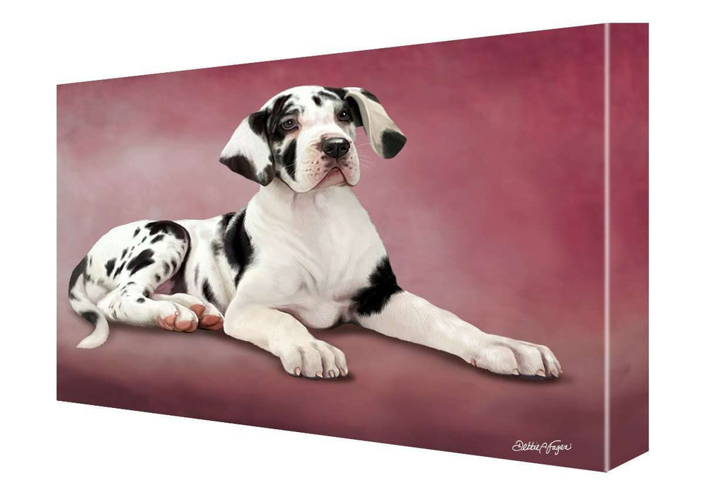 Great Dane Puppy Dog Painting Printed on Canvas Wall Art Signed