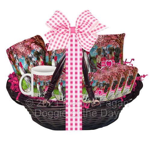 Mother's Day Gift Basket Great Dane Dogs Blanket, Pillow, Coasters, Magnet, Coffee Mug and Ornament