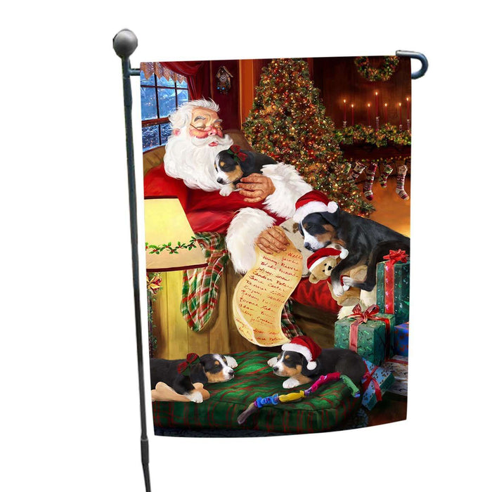 Greater Swiss Mountain Dog and Puppies Sleeping with Santa Garden Flag