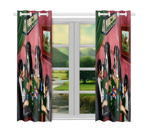 Home of  Greater Swiss Mountain Dogs Playing Poker Window Curtain