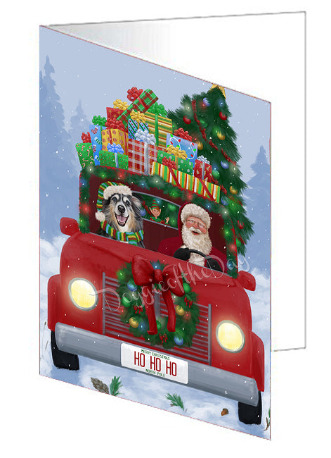 Christmas Honk Honk Here Comes Santa Australian Shepherd Dog Greeting Card