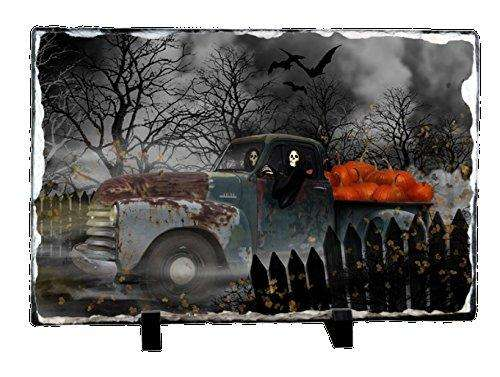 Halloween Ghouls in Old Chevy Truck Photo Slate