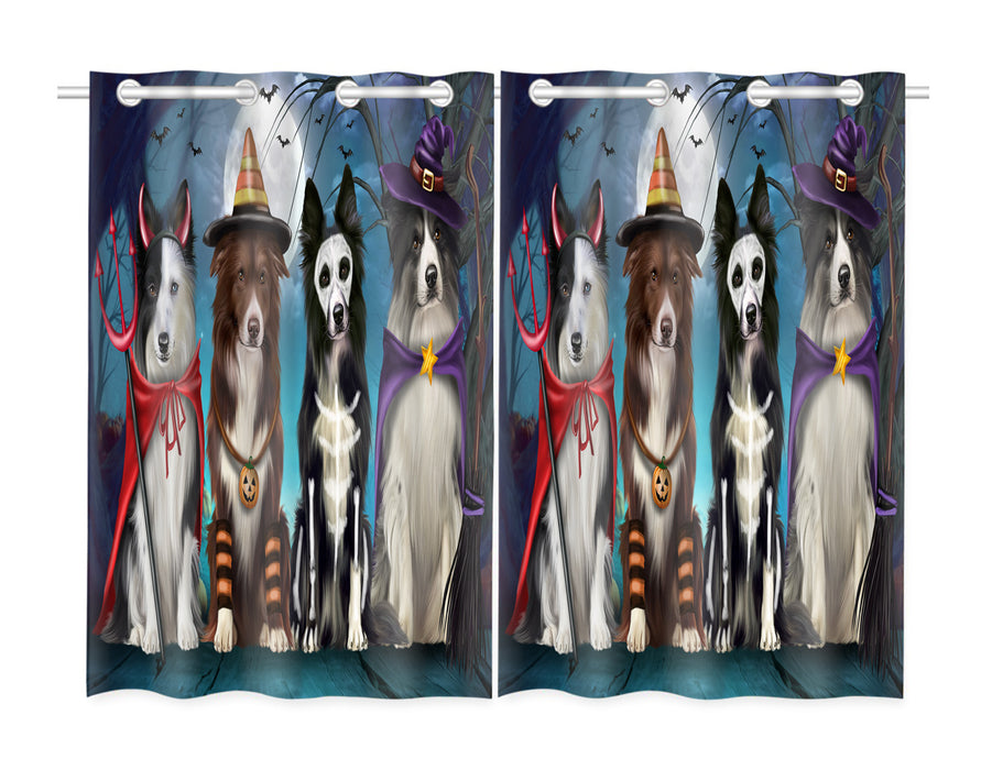 Halloween Trick or Teat Border Collie Dogs Window Curtain
