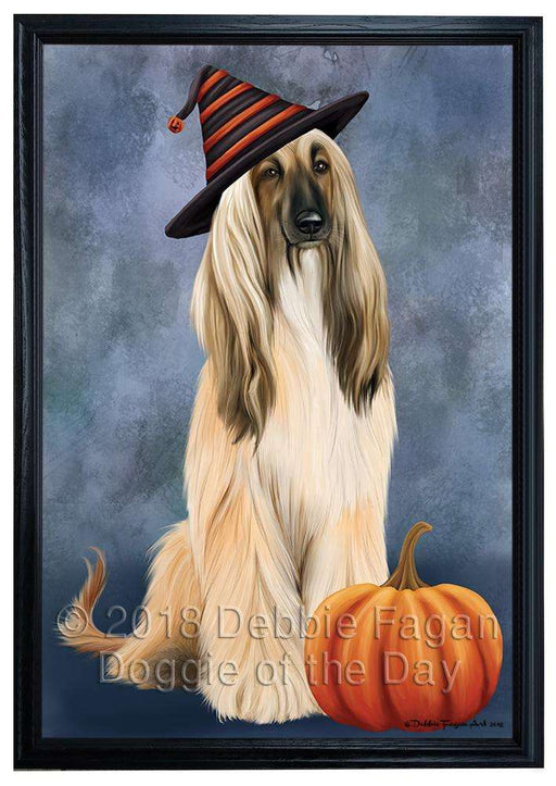 Happy Halloween Afghan Hound Dog Wearing Witch Hat with Pumpkin Framed Canvas Print Wall Art FCVS164178
