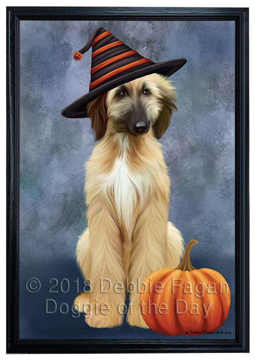 Happy Halloween Afghan Hound Dog Wearing Witch Hat with Pumpkin Framed Canvas Print Wall Art FCVS164195