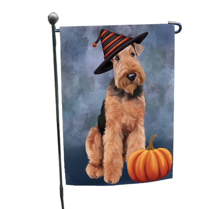 Happy Halloween Airdale Dog Wearing Witch Hat with Pumpkin Garden Flag