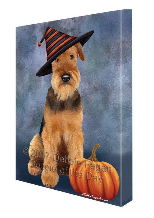 Happy Halloween Airdale Dog Wearing Witch Hat with Pumpkin Wall Art Canvas