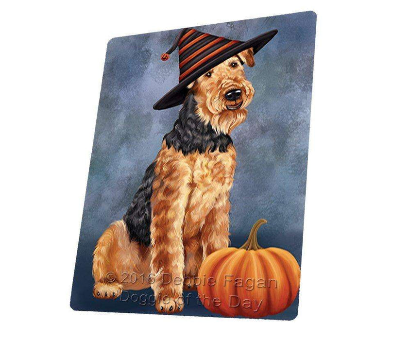 Happy Halloween Airedale Dog Wearing Witch Hat with Pumpkin Art Portrait Print Woven Throw Sherpa Plush Fleece Blanket