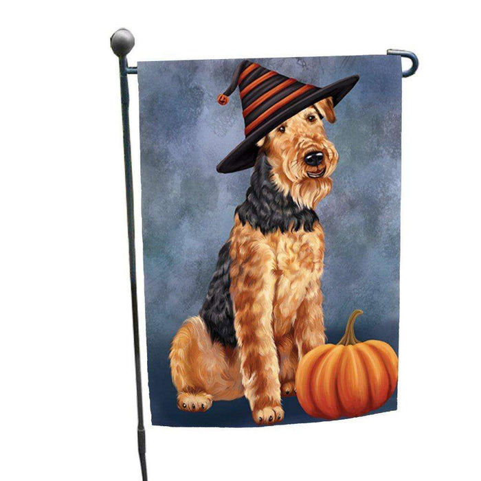 Happy Halloween Airedale Dog Wearing Witch Hat with Pumpkin Garden Flag