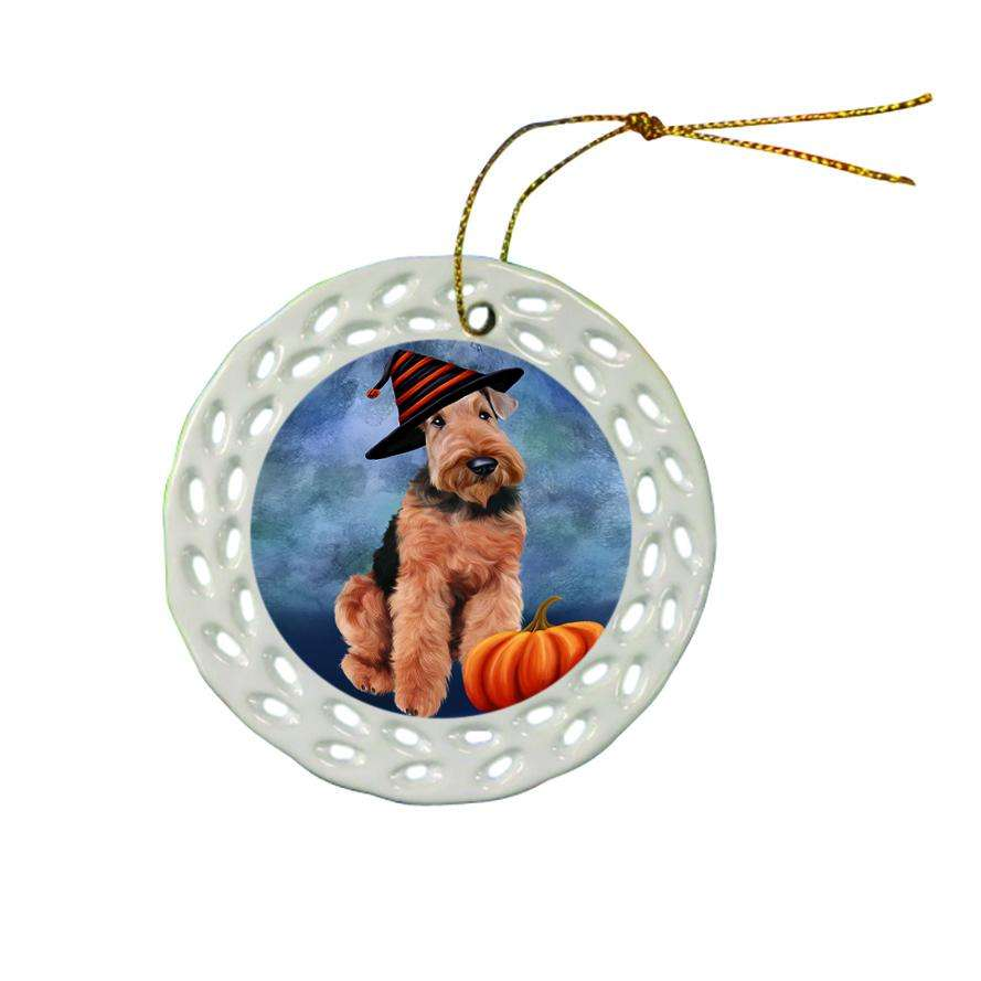 Happy Halloween Airedale Terrier Dog Wearing Witch Hat with Pumpkin Ceramic Doily Ornament DPOR55056