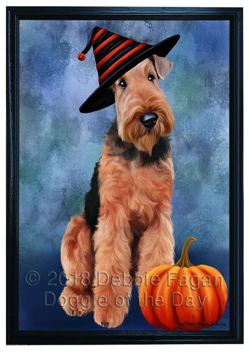 Happy Halloween Airedale Terrier Dog Wearing Witch Hat with Pumpkin Framed Canvas Print Wall Art FCVS166949